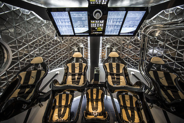 A view inside a mock-up of SpaceX's Crew Dragon spacecraft. Credit: NASA