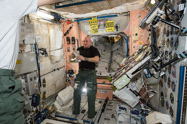 NASA astronaut Scott Kelly is pictured inside the International Space Station's Unity module in this photo from April 2015. Credit: NASA