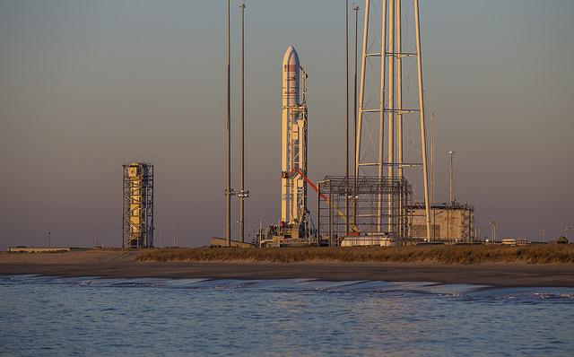 File photo of an Antares rocket on its launch pad at Wallops Island, Virginia. Credit: Orbital ATK