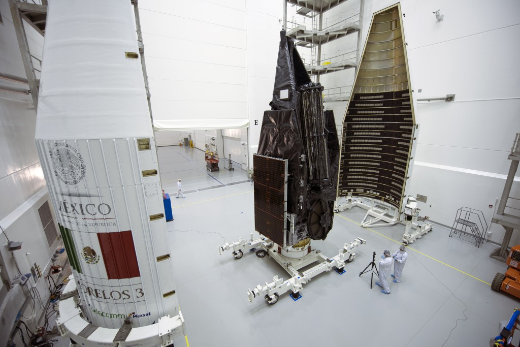 Morelos 3 is encapsulated in the Atlas rocket's nose cone. Credit: ULA