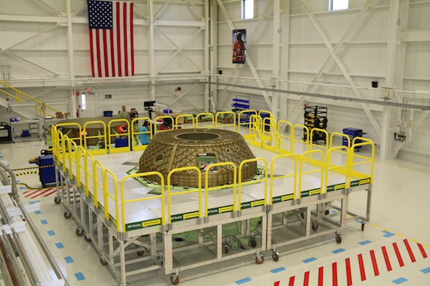 The upper dome of the CST-100 Starliner's structural test article is pictured in tooling at the Kennedy Space Center. Credit: Boeing