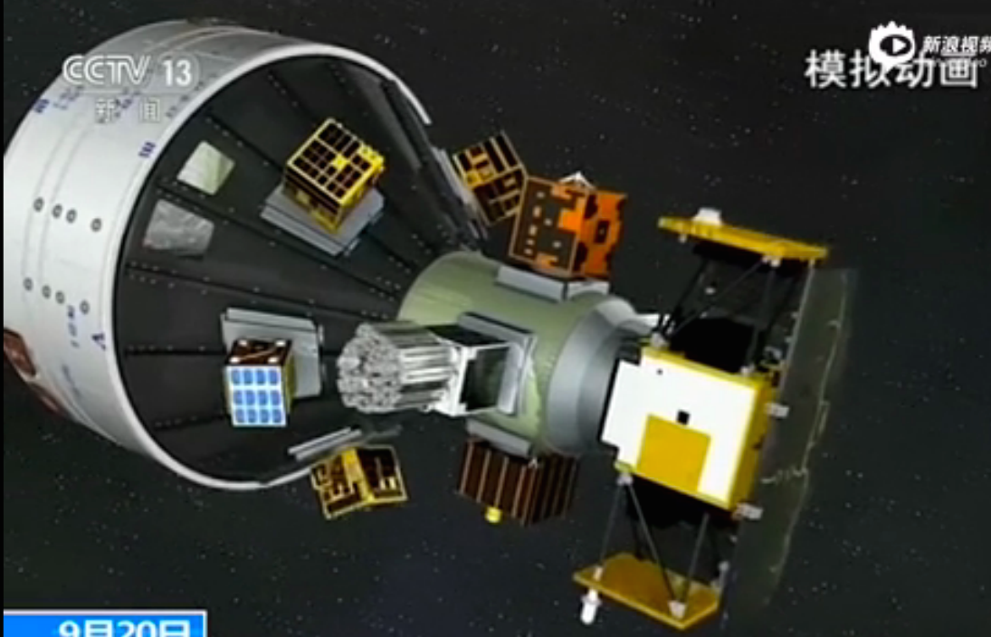 Animation of the Long March 6's upper stage with the mission's payload cluster. Credit: CCTV
