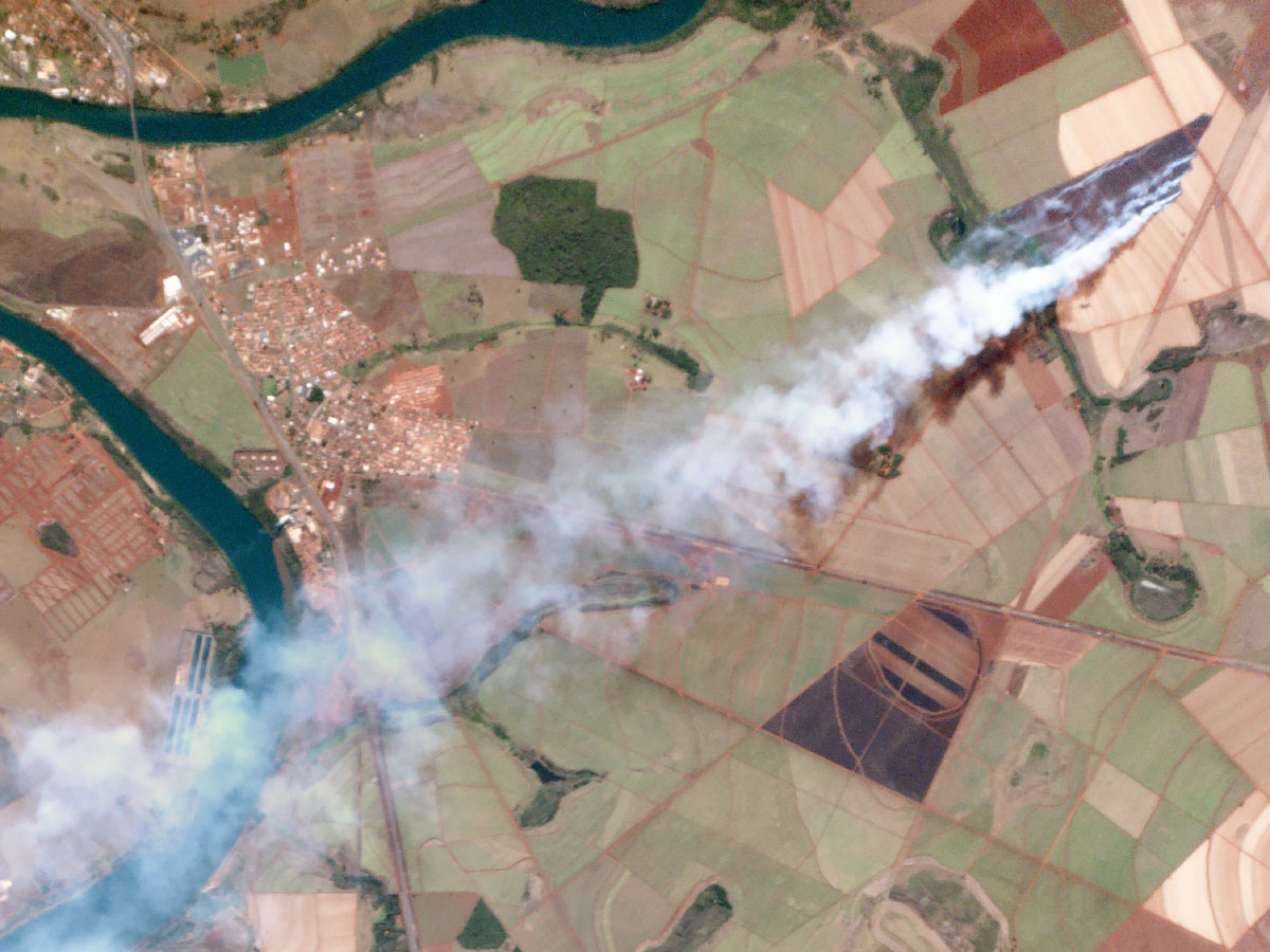 One of Planet Labs' satellites captured this shot of a fire burning near Itumbiara, Brazil. Credit: Planet Labs