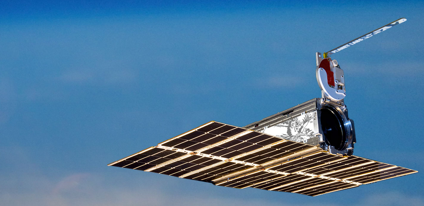 Artist's concept of a Dove satellite with deployed solar panels. Credit: Planet Labs