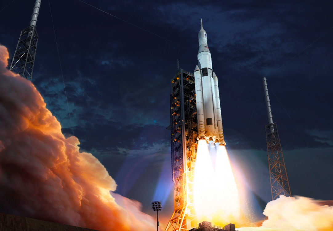Artist's concept of the Space Launch System lifting off from Kennedy Space Center's launch pad 39B. Credit: Boeing
