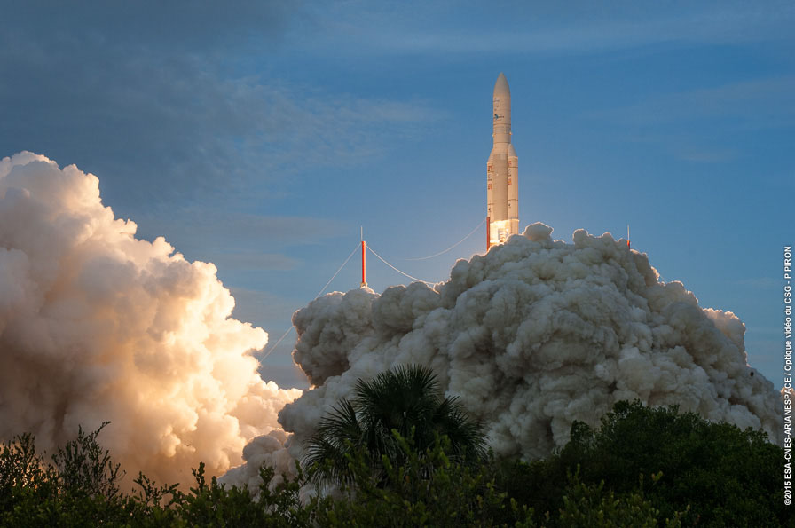 File photo of an Ariane 5 launch. Credit: ESA/CNES/Arianespace – Optique Video du CSG – P. Piron
