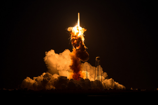 Orbital's Antares rocket suffers a failure moments after liftoff Oct. 28, 2014, from Wallops Island, Virginia. Credit: NASA/Joel Kowsky