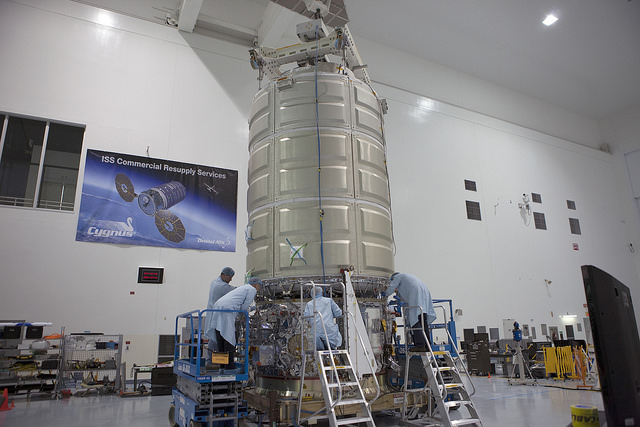 The Cygnus spacecraft's pressurized cargo module and service module are mated in this photo from Oct. 22. Credit: NASA/Kim Shiflett