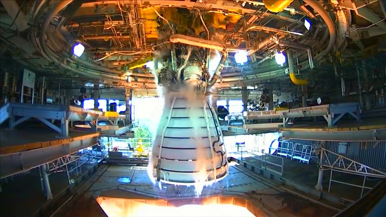 Tests of shuttle-era rocket engines have begun for the Space Launch System. Credit: NASA
