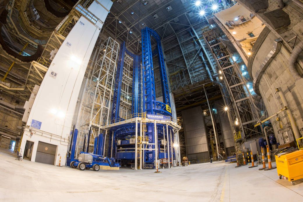 The Vertical Assembly Center, a huge welding tool at NASA's Michoud Assembly Facility in Louisiana, was found to be misaligned last year. Engineers had ti disassemble the structure to correct the problem. Credit: NASA