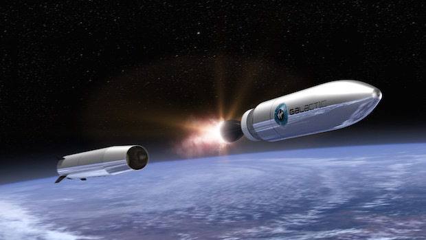 Artist's concept of Virgin Galactic's two-stage LauncherOne vehicle. Credit: Virgin Galactic