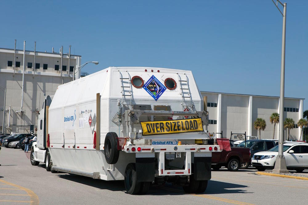 The Cygnus service module for the OA-4 space station resupply mission arrives at Kennedy Space Center on Wednesday. Credit: Orbital ATK