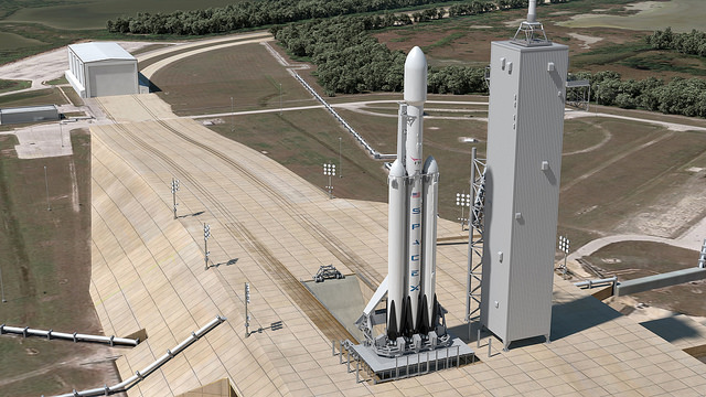 Artist's concept of SpaceX's Falcon Heavy rocket scheduled for its maiden flight from Kennedy Space Center's launch pad 39A in 2016. Credit: SpaceX
