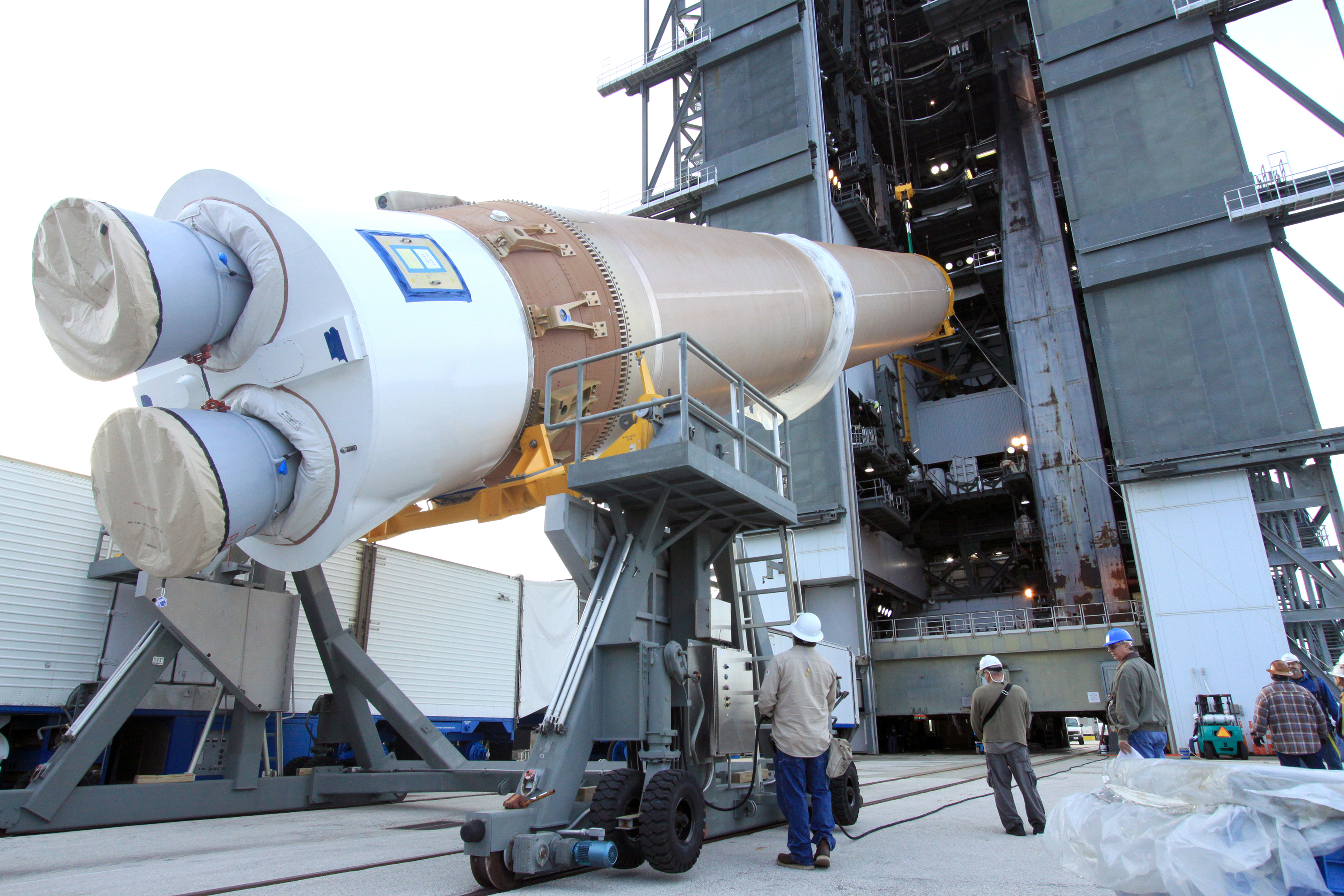 File photo of an Atlas 5 booster stage with a Russian RD-180 main engine. Credit: NASA/Jim Grossmann