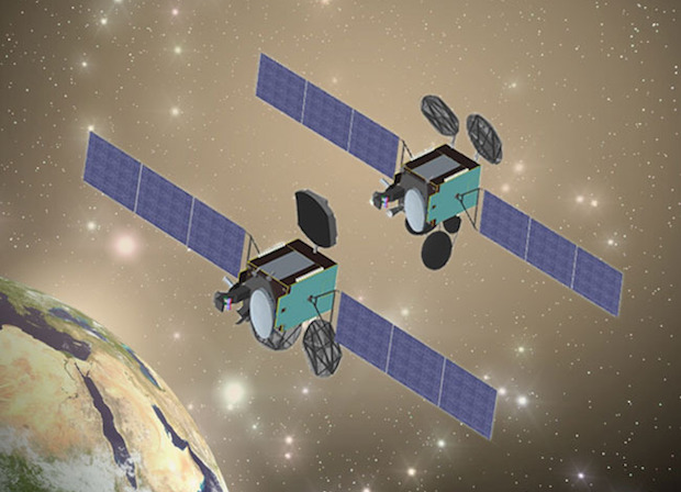 Artist's concept of the Turksat 4A and Turksat 4B satellites. Credit: MELCO