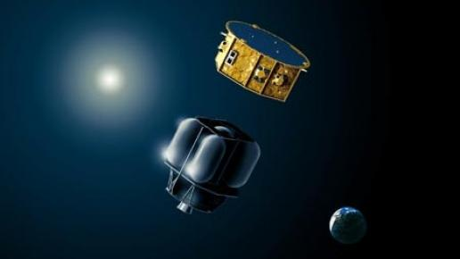 Artist's concept of LISA Pathfinder and its expendable propulsion module after launch. Credit: Airbus Defense and Space
