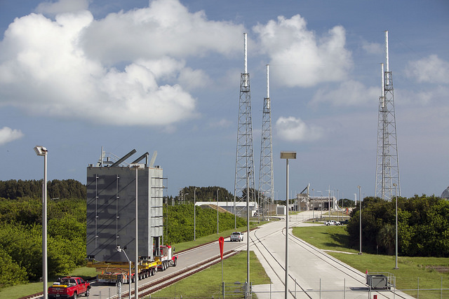 Segments of a new crew access tower are being stacked at Cape Canaveral's Complex 41 launch pad for future astronaut flights. Credit: NASA/Dmitrios Gerondidakis