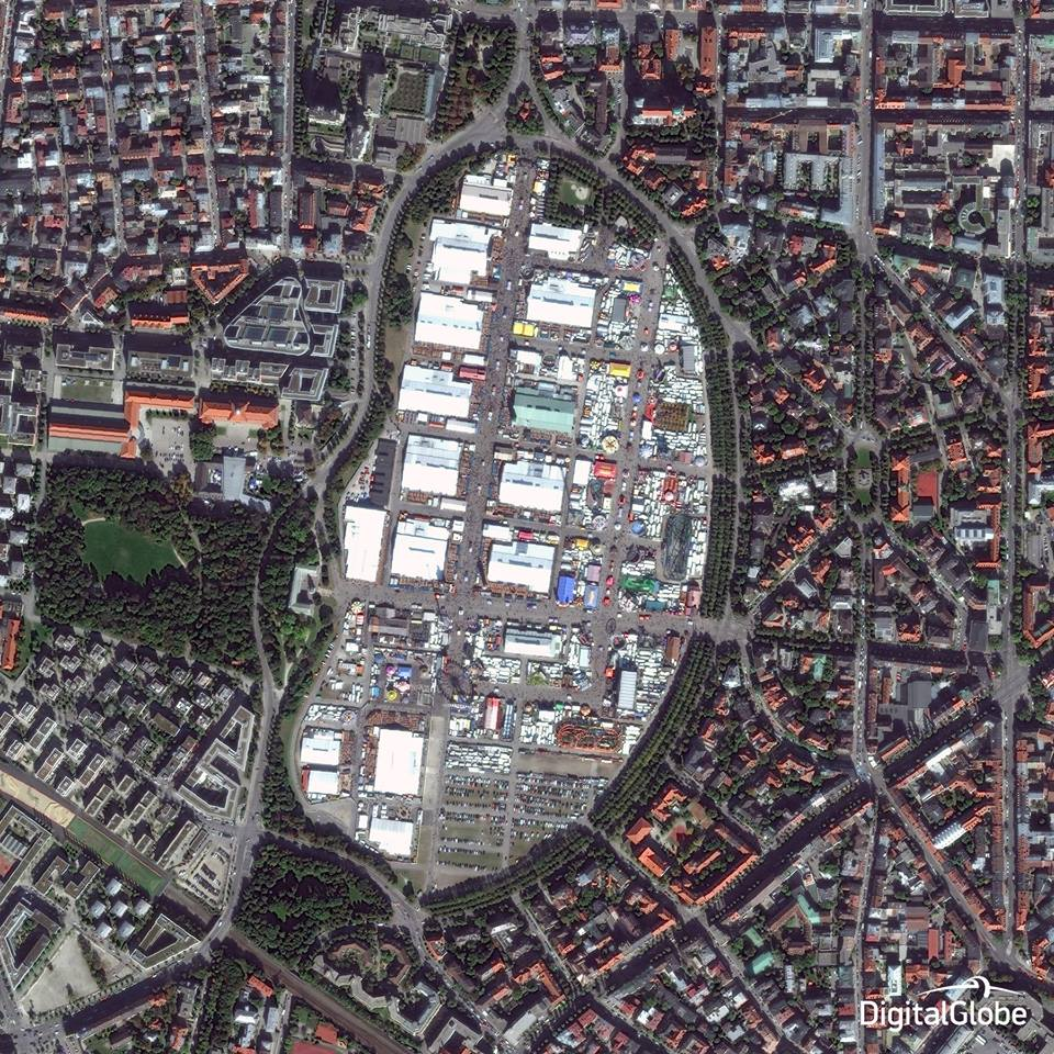 Munich's Theresienwiese is pictured Oct. 1 from DigitalGlobe's WorldView 2 Earth observing satellite. Credit: DigitalGlobe