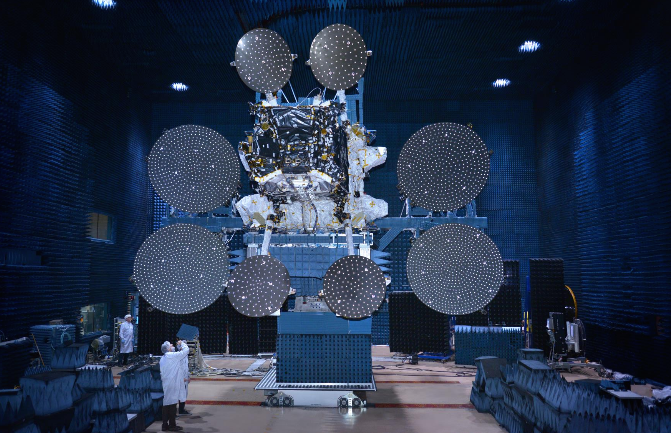 The Sky Muster satellite is pictured inside a test facility at Space Systems/Loral in Palo Alto, California. Credit: Space Systems/Loral
