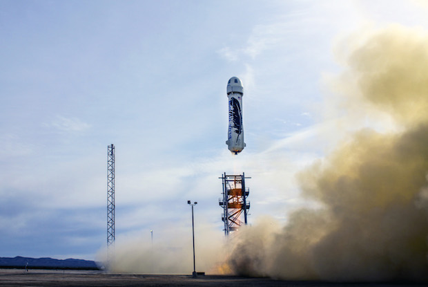 The single-stage New Shepard launch vehicle lifted off at 1723 GMT (12:23 p.m. EST) Monday from Bezos' West Texas ranch. Credit: Blue Origin