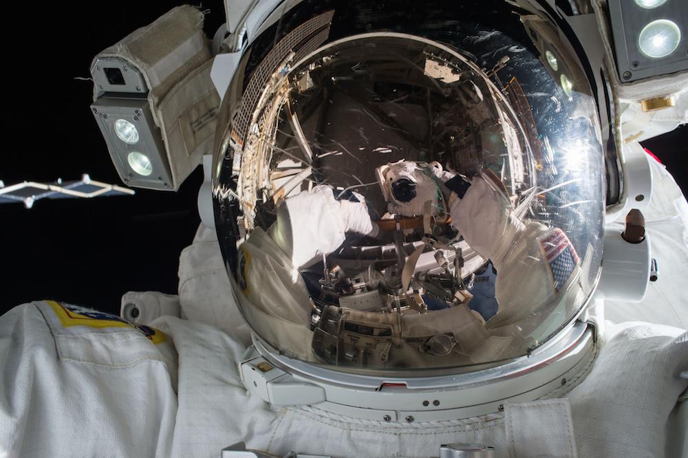 Astronaut Kjell Lindgren took this selfie during the Nov. 6 spacewalk. Credit: NASA