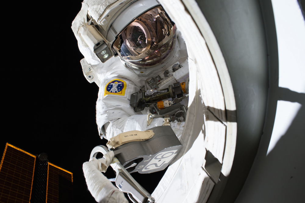 Astronaut Scott Kelly is photographed just outside the station's Quest airlock at the beginning of his first spacewalk Oct. 28. Credit: NASA