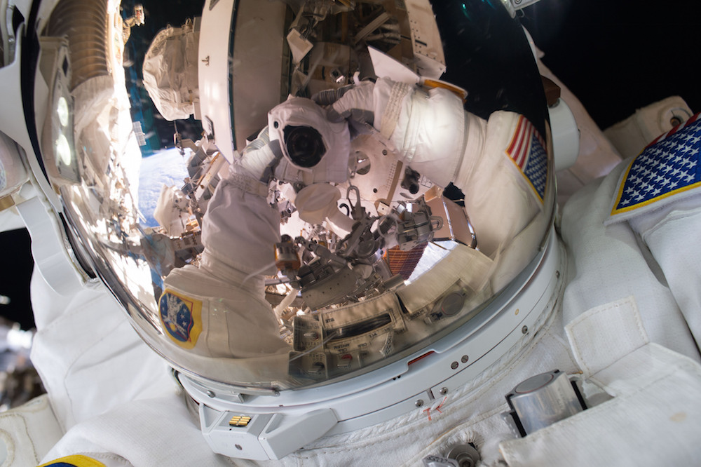 Astronaut Scott Kelly snaps a space selfie while on an Oct. 28 spacewalk. Credit: NASA