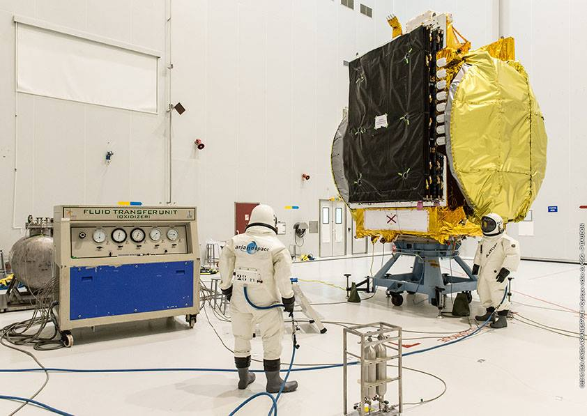Technicians fill the Arabsat 6B satellite with toxic in-space maneuvering propellant using hazmat suits. Credit: ESA/CNES/Arianespace – Optique Video du CSG – P. Baudon