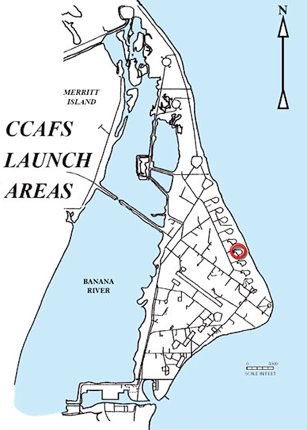 Launch Complex 13, or Landing Zone 1, is circled in this map of Cape Canaveral. Credit: Air Force Space and Missile Museum