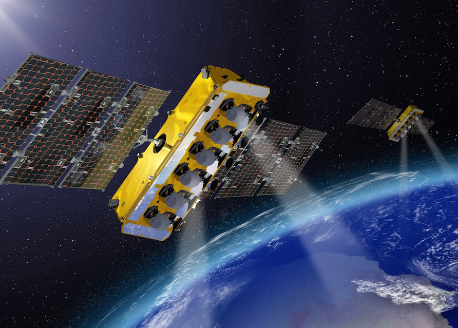 Artist's concept of O3b satellites in orbit. Credit: Thales Alenia Space