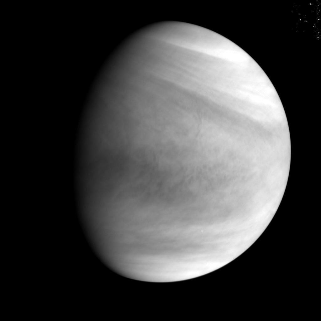 The Akatsuki spacecraft's ultraviolet camera took this image of Venus at 0519 GMT (12:19 a.m. EST) on Dec. 7. Credit: JAXA