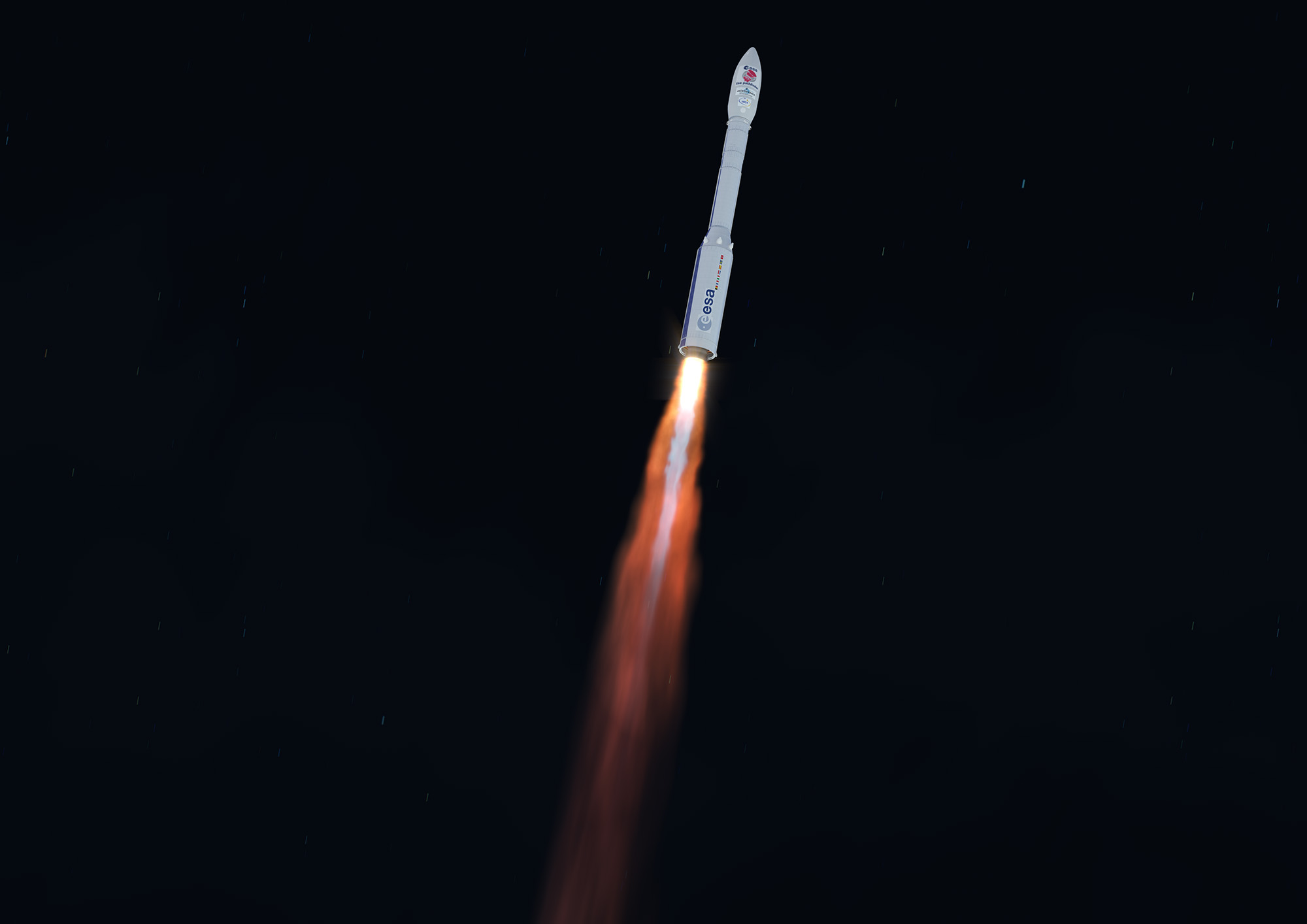 The Vega rocket's first stage P80 solid rocket motor ignites and powers the 98-foot-tall (30-meter) booster off the launch pad 0.3 seconds later. The P80 first stage motor generates a maximum of 683,000 pounds of thrust.
