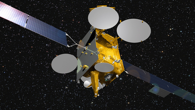 Artist's concept of the Eutelsat 9B satellite with its solar panels and antennas unfurled. Credit: Airbus Defense and Space