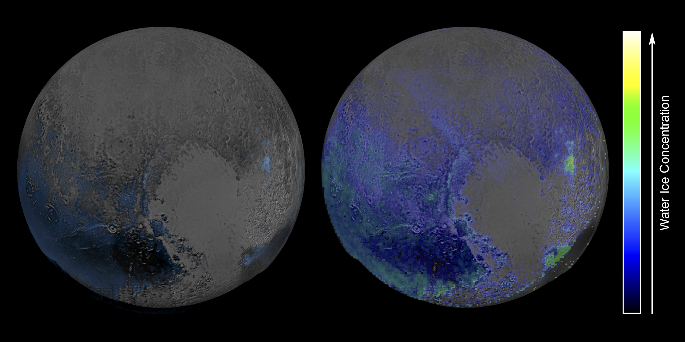 This false-color image, derived from observations in infrared light by the Ralph/Linear Etalon Imaging Spectral Array (LEISA) instrument, shows where the spectral features of water ice are abundant on Pluto's surface. It is based on two LEISA scans of Pluto obtained on July 14, 2015, from a range of about 67,000 miles (108,000 kilometers). The map on the right incorporates a more sensitive model accounting for the contributions of Pluto's various ices all together, revealing more water ice deposits. Credit: NASA/Johns Hopkins University Applied Physics Laboratory/Southwest Research Institute