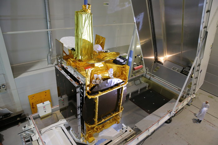 The Eutelsat 9B satellite and the hosted payload for the European Data Relay System are pictured before shipment to the Baikonur Cosmodrome for launch preparations. Credit: Airbus Defense and Space