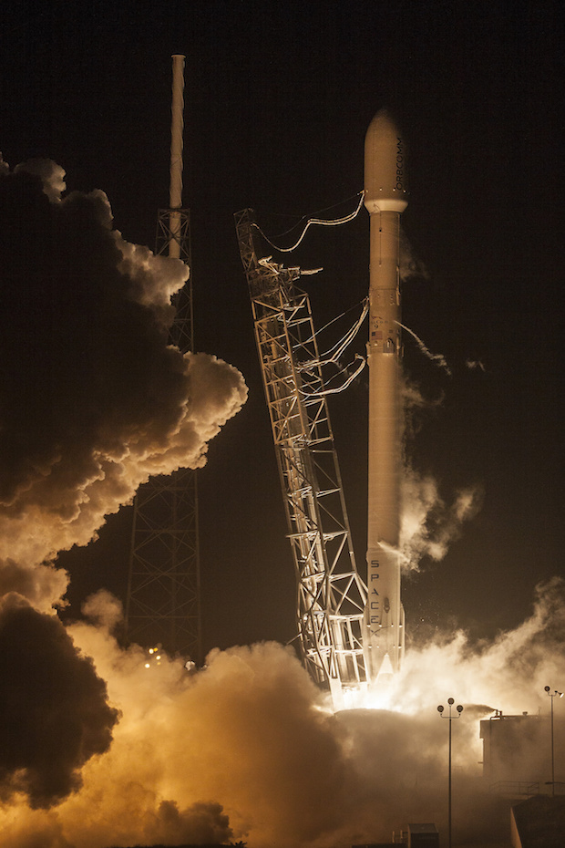SpaceX's upgraded Falcon 9 rocket has flown one time, hauling 11 Orbcomm communications satellites into low Earth orbit in this Dec. 21 liftoff from Cape Canaveral. Credit: SpaceX