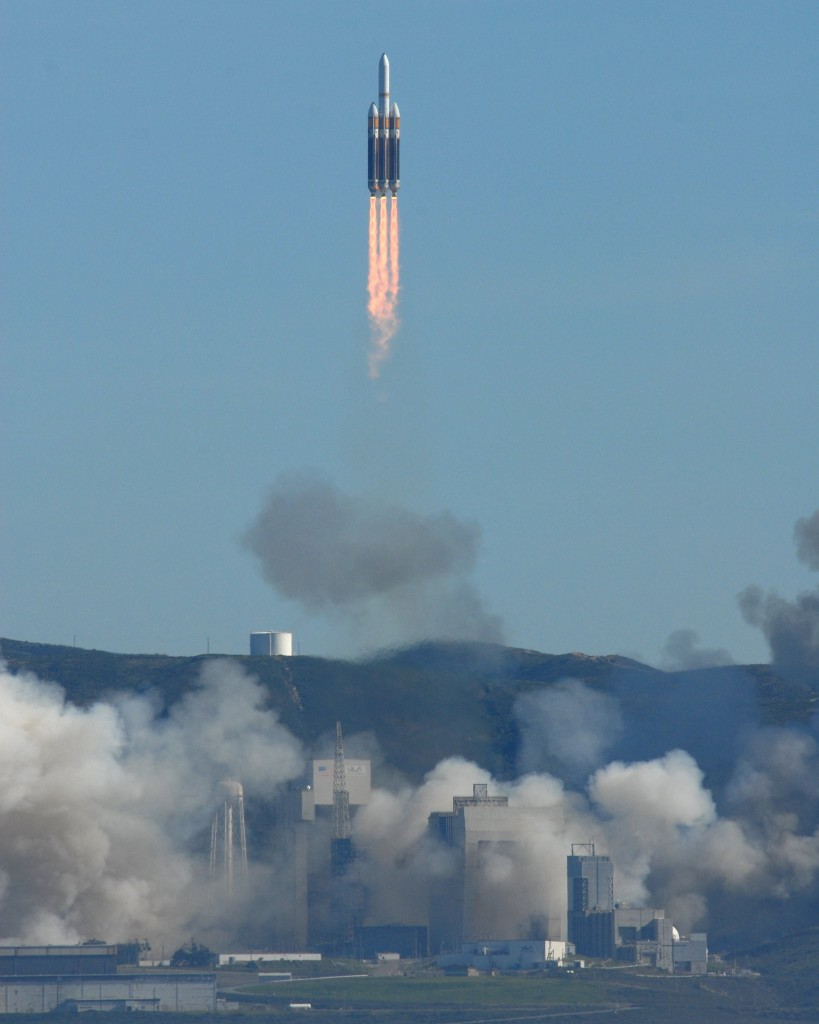 Vandenberg's first Delta 4-Heavy launches from SLC-6 with a KH-11 spy satellite, as viewed from Platform Irene off the coast. Credit: Air Force