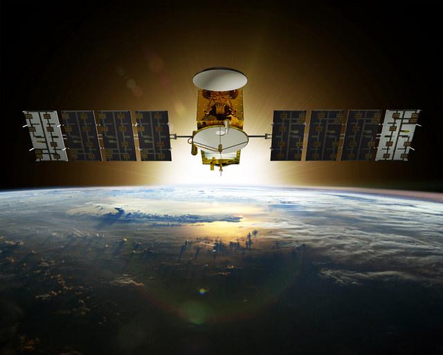Artist's concept of the Jason 3 spacecraft in orbit. Credit: NOAA