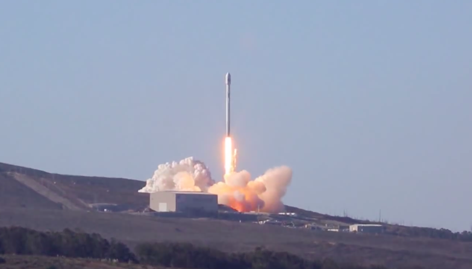 After the rocket's nine Merlin 1D engines pass an automated health check the Falcon 9 is released from Space Launch Complex 4 East at Vandenberg Air Force Base California