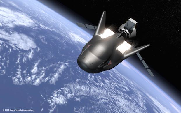Artist's concept of Sierra Nevada's Dream Chaser, which includes an expendable cargo module and a reusable space plane. Credit: Sierra Nevada Corp.