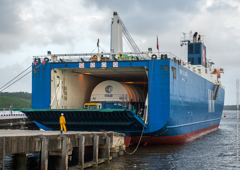 The first stage assigned to the second Ariane 5 launch of 2016 in March arrived at the French Guiana launch base from its factory near Paris on Jan. 5. Credit: ESA/CNES/Arianespace – Photo Optique Video du CSG - P. Piron