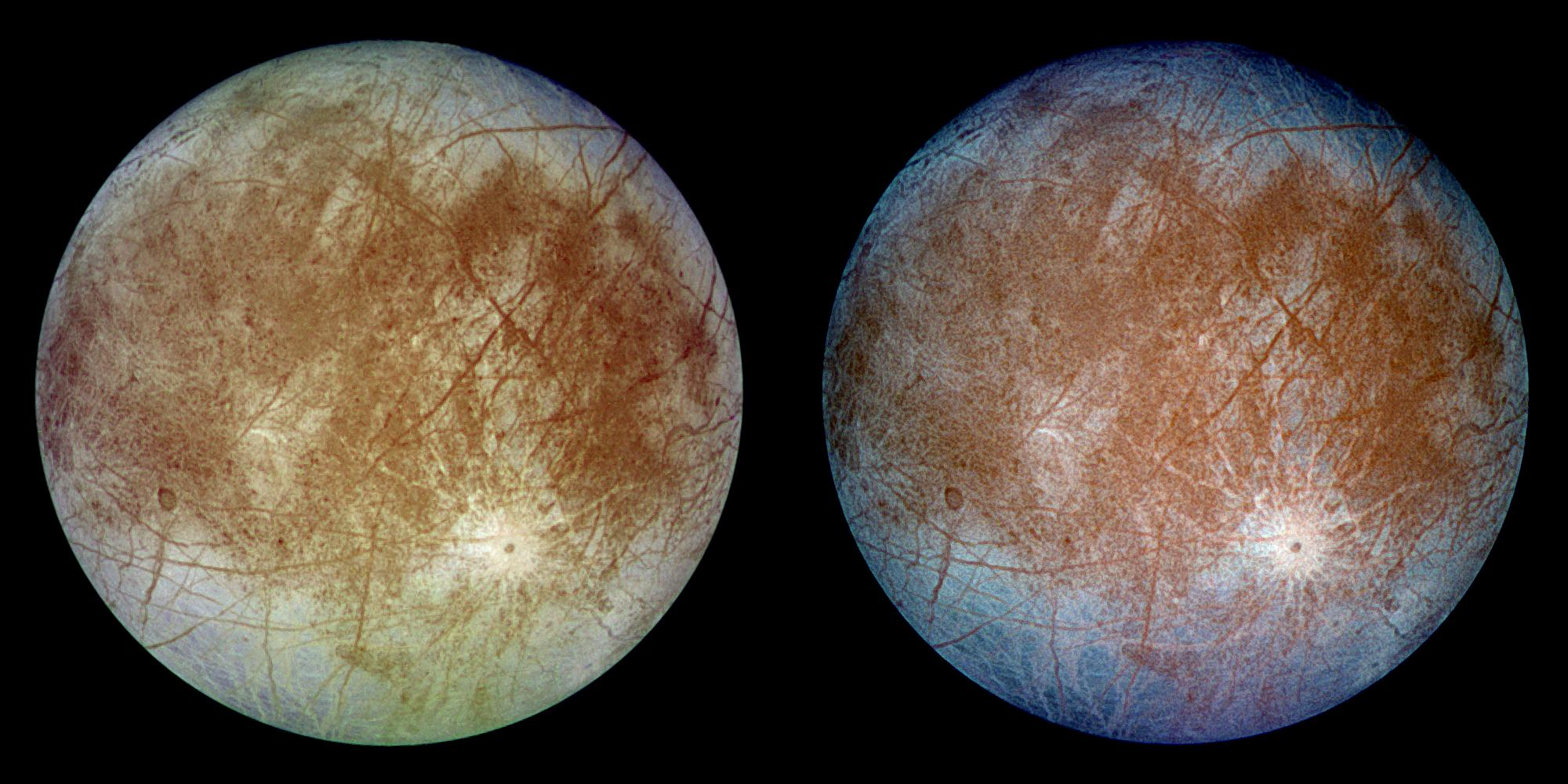 This image shows two views of the trailing hemisphere of Jupiter's ice-covered satellite, Europa. The left image shows the approximate natural color appearance of Europa. The image on the right is a false-color composite version combining violet, green and infrared images to enhance color differences in the predominantly water-ice crust of Europa. NASA's Galileo spacecraft captured the imagery in 1996. Credit: NASA/JPL/DLR