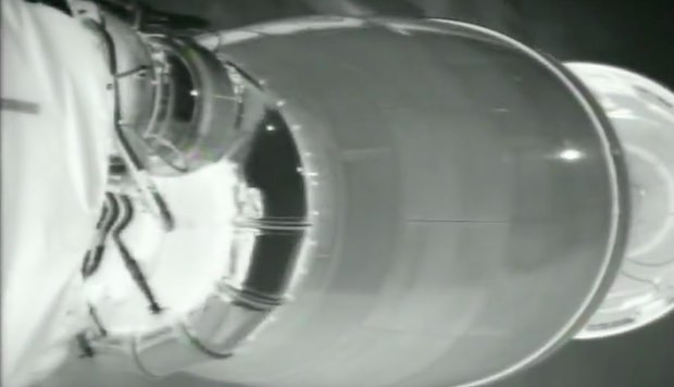 The Falcon 9's first stage separates from the second stage moments after MECO.