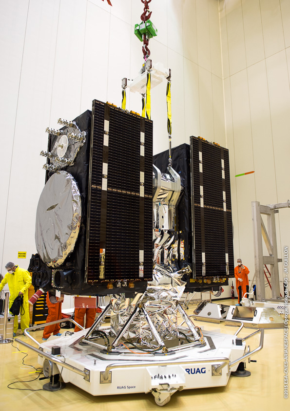 Galileo navigation satellites fly two at a time aboard Soyuz launches, as pictured here during preparations before an earlier launch. Credit: ESA/CNES/Arianespace – Photo Optique Video du CSG – JM Guillon