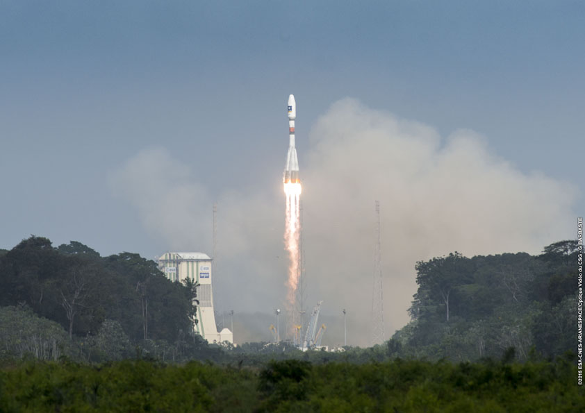 File photo of a Soyuz launch from French Guiana with two satellites for the Galileo navigation system. Credit: ESA/CNES/Arianespace – Photo Optique Video du CSG – G. Barbaste