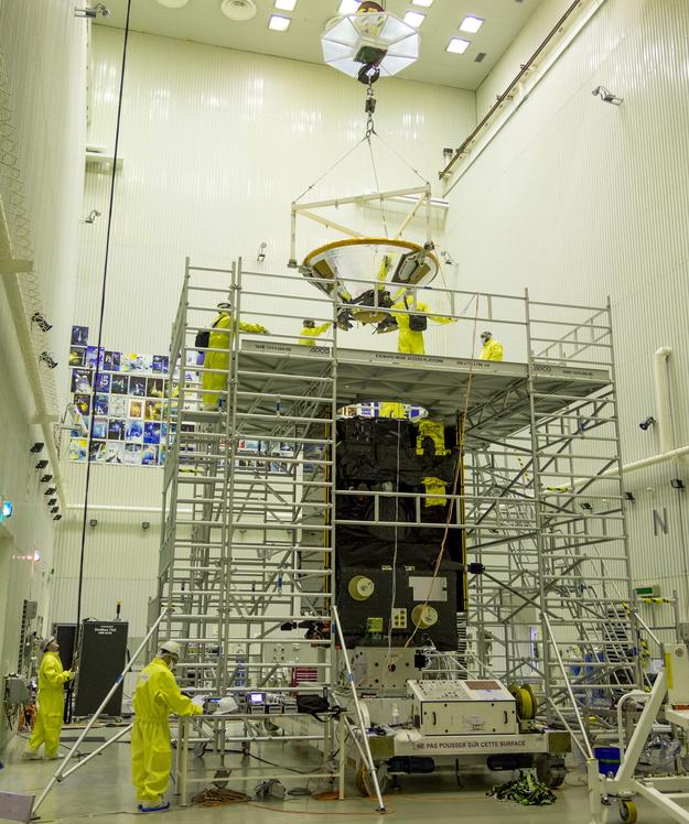 The 600-kilogram (1,322-pound) Schiaparelli lander was hoisted atop the ExoMars Trace Gas Orbiter on Feb. 12. Credit: ESA - B. Bethge