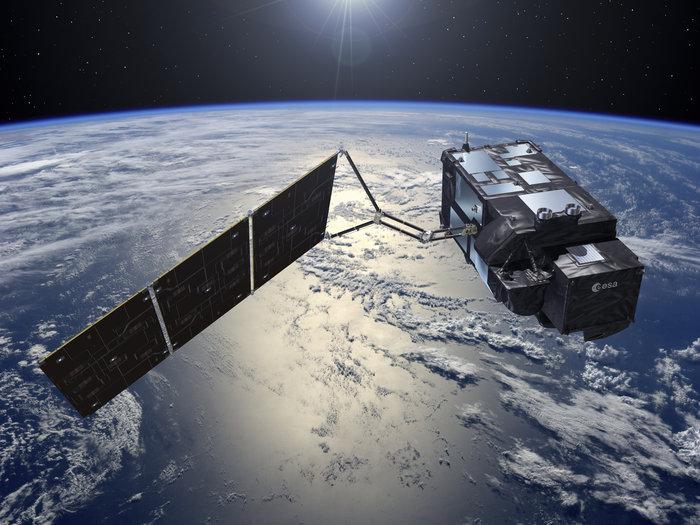 Artist's concept of the Sentinel 3A satellite in orbit. Credit: ESA–Pierre Carril