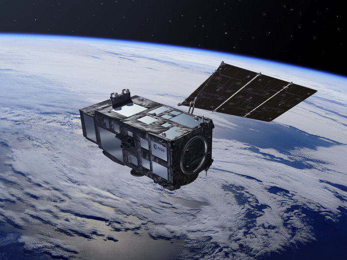 Artist's concept of the Sentinel 3A satellite in orbit. Credit: ESA–Pierre Carril