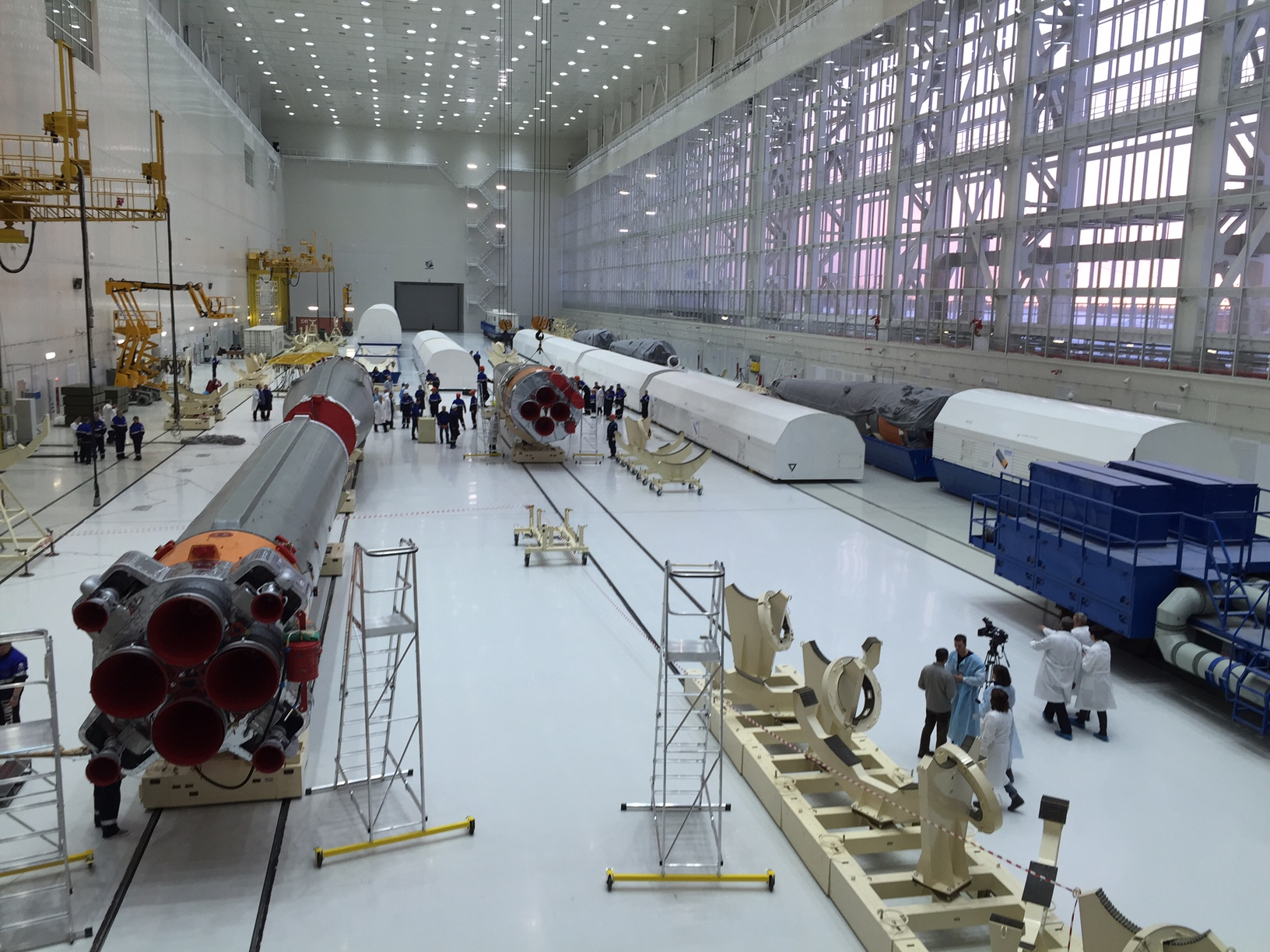 Components of the first Soyuz rocket to launch from the Vostochny Cosmodrome. Credit: Roscosmos