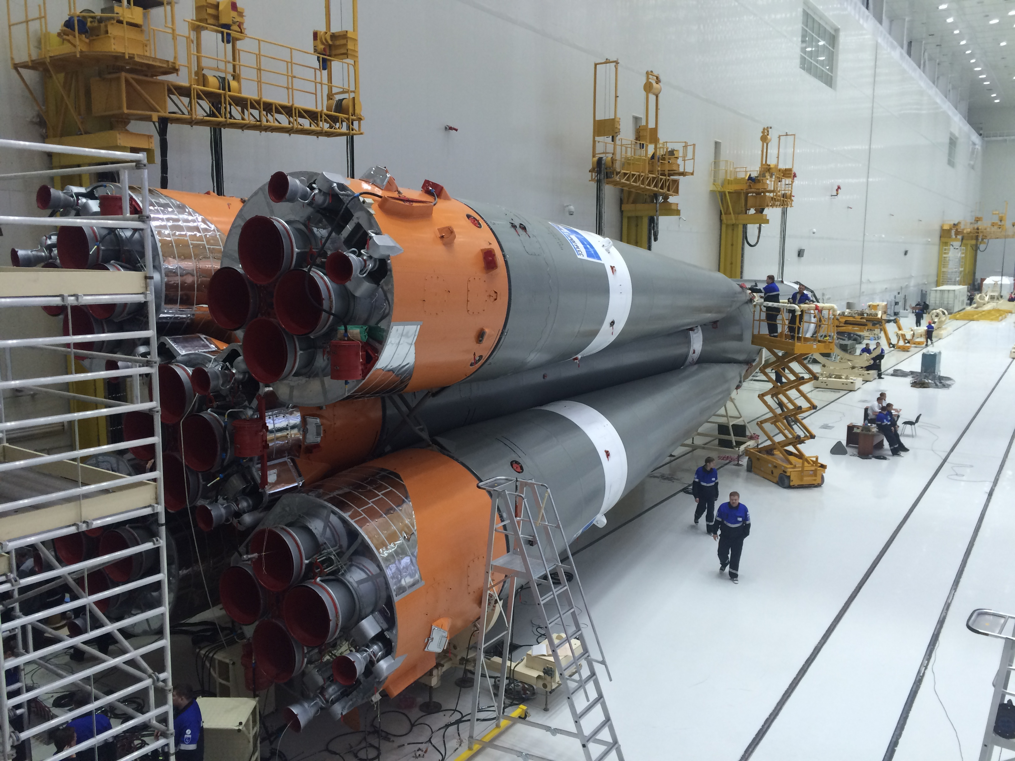The three-stage Soyuz-2.1a rocket is assembled inside a hangar at the Vostochny Cosmodrome in Russia's Far East. Credit: Roscosmos